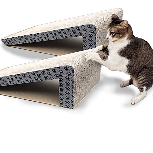 iPrimio Cat Scratch Ramps (2 Ramps for One Price) - Foldable for Travel and Easy Storage - Great for Cats Playing Over, Laying, and Scratching - Patent Pending Design (2 Pack)
