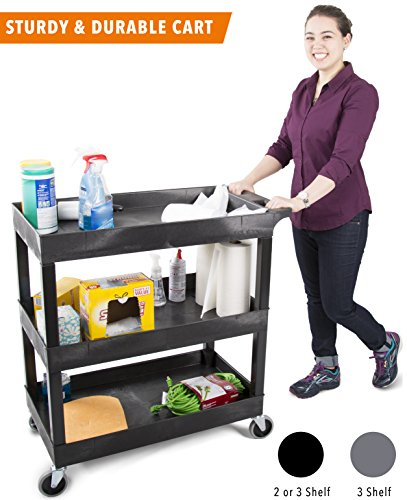 Original Tubster 3 Shelf Utility Cart/Service Cart - Heavy Duty - Supports up to 400 lbs! - Tub Carts w/Deep Shelves - Great for Warehouse, Garage, Cleaning, More! (3 Shelf - 32 x 18 - Black)