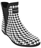 London Fog Womens Piccadilly Rain Boot Houndsthooth 7 M US