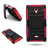 Sharp Aquos Crystal Case with Holster (Red/Black) CoverON Protective Hybrid Belt Clip Phone Cover for Sharp Aquos Crystal 306SH