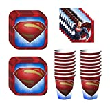 Superman Birthday Party Supplies Set Plates Napkins Cups Kit for 16