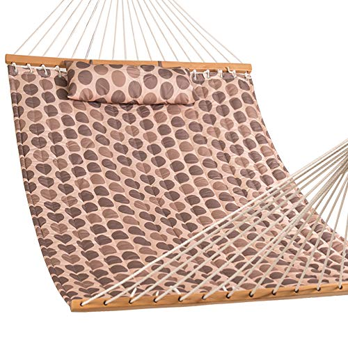 """Lazy Daze Hammocks 55"""" Double Quilted Fabric Hammock Swing with Pillow, Romantic Coffee Bean"""