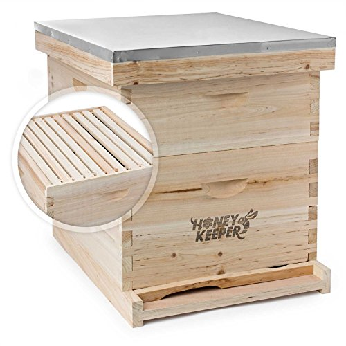 Honey Keeper Beehive 20 Frame Complete Box Kit (10 Deep and 10 Medium) with Metal Roof for Langstroth Beekeeping