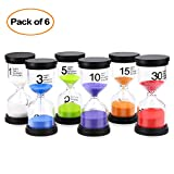 Sand Timer Mosskic 6 Colors Hourglass Timer 1/3/5/10/15/30 minutes Sandglass Timer for Kids Games Classroom Kitchen Home Office Decoration(Pack of 6)
