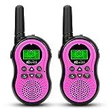 Koviti Kids Walkie Talkies 2 Way Radio 22 Channel Range Up to 3Miles UHF Walky Talkies Interphone Toy Gift for Kids (Pink,2 Pack)
