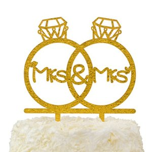 LOVENJOY Gift Box Pack Lesbian Mrs and Mrs in Diamond Rings Same Sex Monogram Wedding Engagement Cake Topper (5.3-inch, Gold Glitter) 51qzICQt70L