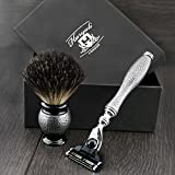 Shaving Gift Set with Gillette Mach 3 Hand Assembled razor , Black Badger Brush and Stands, Great Gift Idea for (New Beginner), (Grand Father), (Father), (Husband) or (Boyfriend). by Haryali London