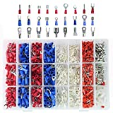 1000pcs Wire Terminals Crimp Connectors, Mixed Insulated Electrical Spade Wire Connectors Crimp Terminal Fork Spade Ring Set ...