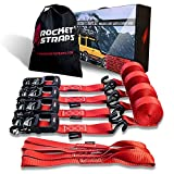 Rocket Straps - Heavy Duty Ratchet Straps | 1.5' x 15' - 4500lbs Break Strength Ratchet Tie Down Straps | 4 Ratchets & 4 Soft Loops | Ratchet Strap Bag | Use with Moving, Motorcycle, Trailer & Trucks