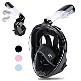 Greatever Newest Version Snorkel Mask Foldable 180 Panoramic View Free Breathing Full Face Snorkeling Mask with Detachable Camera Mount, Dry Top Set Anti-Fog Anti-Leak