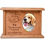 Cremation Urns for Pets SMALL Memorial Keepsake box for Dogs and Cats, personalized Urn for pet ashes portion of ashes In Loving Memory Gone but not forgotten You left paw prints... Holds 2x3 photo