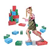EXERCISE N PLAY Cardboard Blocks,40pcs Building Blocks Extra-Thick Jumbo Stackable Bricks in 3 Size for Toddler