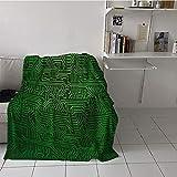 Khaki home Children's Blanket Cozy Flannel Plush Throw Blanket (60 by 70 Inch,Digital,Computer Art Backdrop with Circuit Board Diagram Hardware Wire Illustration,Emerald Fern Green