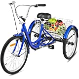 Happybuy Adult Tricycle 7 Speed Single Three Wheel Bike Cruise Bike 24inch Seat Adjustable Trike with Bell, Brake System and Basket Cruiser Bicycles Large Size for Shopping (24inch, Blue 7 Speed)