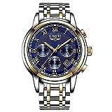 Watches Mens Luxury Steel Band Quartz Analog Wrist Watch with Chronograph Waterproof Date Men's Watch Auto Date,Blue