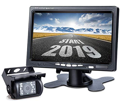 Upgrade Backup Camera Monitor Kit,1024X600 HD,IP69 Waterproof Rearview Reversing Rear View Camera 7'' LCD Reversing Monitor Truck/Semi-Trailer/Box Truck/RV — HD Transmission, Four-pin — DVKNM (TZ101)