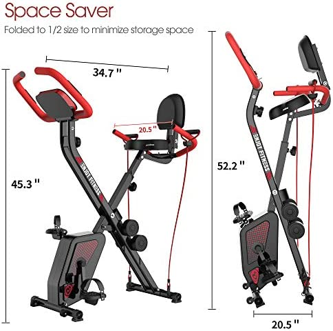 pooboo Folding Exercise Bike Indoor Cycling Bike Magnetic Upright Bike Stationary Bike with Dumbbells,Arm Resistance Bands,Pulse Sensor,LCD Monitor 2