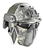 Jadedragon PJ Tactical Fast Helmet & Protect Ear Foldable Double Straps Half Face Mesh Mask & Goggle (ACU)