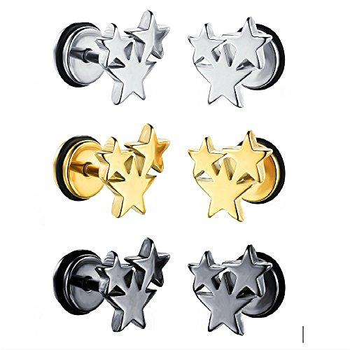 UMtrade Moda Hombres Mujer Acero inoxidable Triple Estrellas Aretes Pendiente 9 mm,3 pares de un...