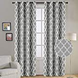Flamingo P Modern Moroccan Geometric Decor Curtains Print Thermal Insulated Blackout Curtains for Living Room 52W x 84L Inch Gray 1 Pair