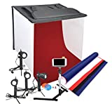 Emart Photography 24 x 24 Inches Table Top Photo Studio Continous Lighting LED Light Shooting Tent Box Kit, Camera Tripod & Cell Phone Holder