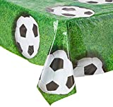 Beistle 54532 Soccer Ball Tablecover, 54 by 108-Inch, Green/White/Black