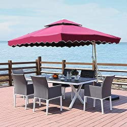 ROSE GARDEN Outdoor Living 8.5 Feet Patio Umbrella with Strong Sturdy Hand Push Round,8 Metal Ribs,UV Resistant, Claret-red