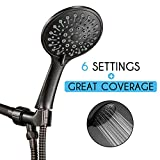 ANZA High Pressure Handheld Shower Head With Hose, 6 Spray Modes, Spa Grade, Rainfall 4.7', Hand Held Shower Head For Low Flow With Long Hose, Adjustable Bracket, Teflon Tape, Oil-Rubbed Bronze