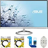 ASUS 27' Widescreen Full HD AH-IPS LED Backlit and Frameless Monitor (MX279H) with 2X 6ft High Speed HDMI Cable, Universal Screen Cleaner for LED TVs & Transformer Tap USB w/ 6-Outlet Wall Adapter