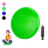 Freesty Wobble Cushion Wiggle Seat with Pump, Air Stability Balance Disc Core Trainer for Home & Gym, Office Desk Chair Cushion for Flexible Classroom Seat (Green, 34cm)