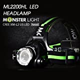 Monster Light ML2200HL LED headlamp 1200Lumen portable aluminium flashlight -Ultra Bright, 3 modes,adustable focus,water resistant,cree xm-l2 u3 led reading/walking/household works/traveling