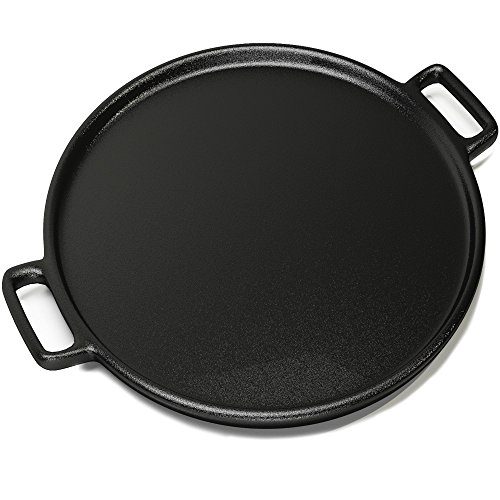 Home-Complete Cast Iron Pizza Pan-14' Skillet for Cooking, Baking, Grilling-Durable, Long Lasting, Even-Heating and Versatile Kitchen Cookware