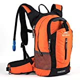 Hiking Insulated Hydration Backpack Pack with 2.5L BPA FREE Water Bladder- Keeps Liquid Cool up to 4 Hours, Lightweight Daypack For Hiking Running Cycling Camping School Commuter, 18L Orange
