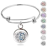Birthday Gifts for Women, Essential Oil Diffuser Bracelet Aromatherapy Diffuser Locket Stainless Steel Bangle with 8 Colors Pads Romanda Jewelry for Women