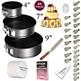 Cake Pan Set for beginner - Springform Pan Set - 3 Round Baking Pans (4'/7'/9') Inch - Non-stick & Leakproof Bakeware Mold - Cheesecake Pan with Removable Bottom- Free Cake decoration supplies & Ebook