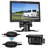 LeeKooLuu Wireless Backup Camera System with 7'' LCD Monitor Kit For Car/SUV/Truck/Pickup/Van/Camper 12V-24V Rear view Camera IP68 Waterproof 18 LED IR Lights Night Vision