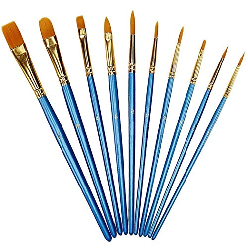 Paint Brushes,AOKEY Professional Paint Brushes Set 10 Pieces Round Pointed Tip Nylon Hair Artist Paint Brushes for Art Painting,Acrylic Watercolor Oil,Nail Art,Miniature Painting,Adults,Children,Kids