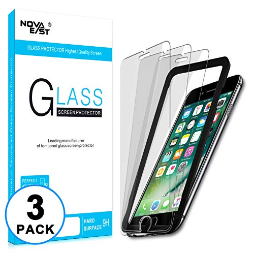 Novaeast Screen Protector for iPhone 6, iPhone 6S, iPhone 7, iPhone 8 [4.7-inch] Screen Protector with Easy Installation Frame, Tempered Glass Film, Lifetime Replacement, 3-Pack
