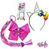 Jojo Siwa Girls Accessory Set, Bow Headband 3 Pack Bracelet and Hair Braid Bows Organizer - Purple Rainbow