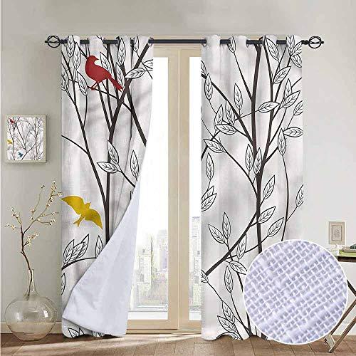 NUOMANAN Bathroom Curtains Nature,Birds Wildlife Cartoon,Room Darkening Waterproof Curtains for Bathroom 54'x63'