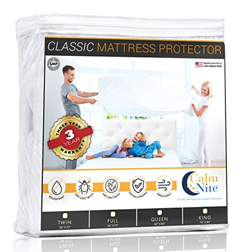 CALM NITE King Size Mattress Pad Protector - Waterproof & Hypoallergenic Cover, Vinyl Free Topper - Machine Washable