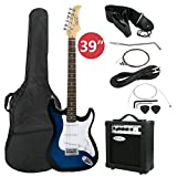 ZENY 39' Full Size Electric Guitar with Amp, Case and Accessories Pack Beginner Starter Package, Blue Ideal Christmas Thanksgiving Holiday Gift