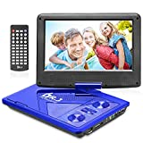 DR. J 11.5' Portable DVD Player 9.5' Swivel Screen with 5 Hours Built-in Rechargeable Battery, USB SD Card Slot, Region Free, Sync TV Function, Include Car Charger AV Cable Remote Power Adapter Blue