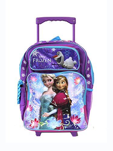 Disney Full Size Purple and Blue Sisters Stick Together Frozen Rolling Backpack