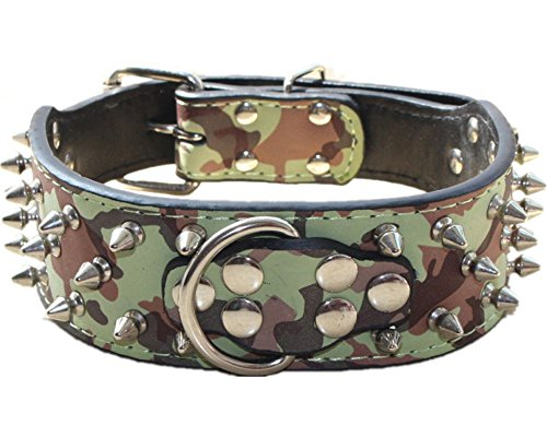 Haoyueer Spiked Leather Dog Collar Bullet Rivets Studded 2 Inch Width Medium & Large Dogs