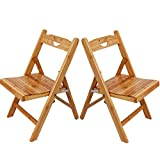 Asunflower Wood Folding Chair Set of 2, Wooden Patio Chairs for Kids with Smile Face, Assembled