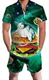 Green Galaxy Cats Romper Sets for Youth Adult Men Boys Short Sleeve Jumpsuits Animal Zip Up Baggy Hawaiian Clothing Juniors Male 60 70s 80 90s Guy Dad and Son Festival Gift Home Gym Sport Party