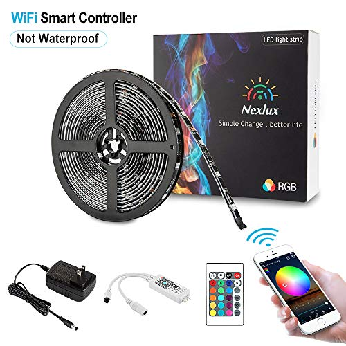 Nexlux Led Light Strip, WiFi Wireless Smart Phone Controlled 16.4ft Non-Waterproof Strip Light Kit Black PCB 5050 LED Lights,Working with Android and iOS System,IFTTT