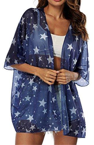 KLJR-Mujer Estrella Impresión Abierto Delantero Chal Kimono Coat Cover Up Blusa Tops, Azul, Talla...
