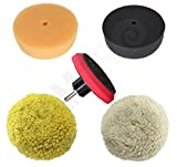 Ram-Pro 3' Car Buffing and Wax Polishing Pad Kit - Drill Attachment Tool with Fastener Wheels